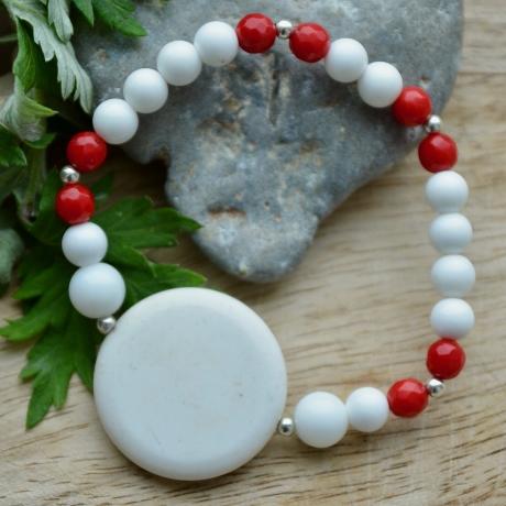 Alabaster * Punane korall * Valge ahhaat (925 hõbe)