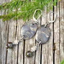 Kõrvarõngad - Fosiilkorall, draakonivere jaspis, kivistunud puit (925 hõbe)