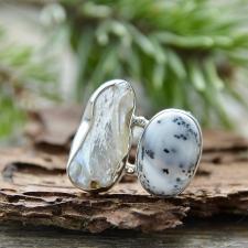 Sõrmus - Dendriitopaal ja emapärl (925 hõbe)
