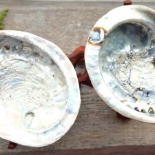 Viiruki hoidja - puidust jalgadel pärlikarp