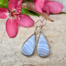 Kõrvarõngad - Sinine pitsahhaat (925 hõbe)