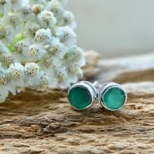 Kõrvarõngad - Roheline oonüks (925 hõbe)